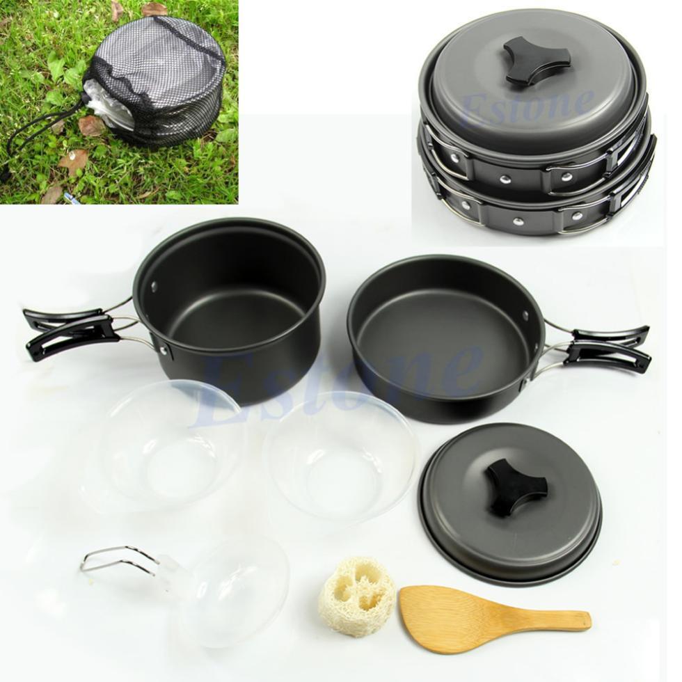 Free shipping 8pcs/set Outdoor Camping Hiking Cookware Backpacking Cooking Picnic Bowl Pot Pan Set Drop Shipping(China (Mainland))