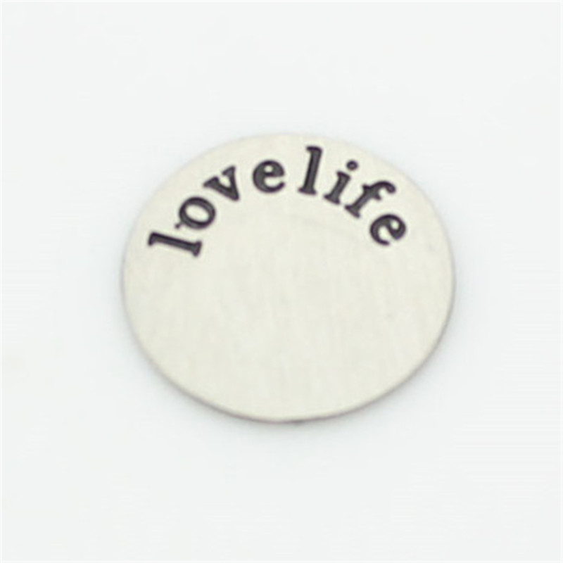 12mm stainless steel floating locket plates feel letter ' love life' window plate fit 20mm lockets(China (Mainland))