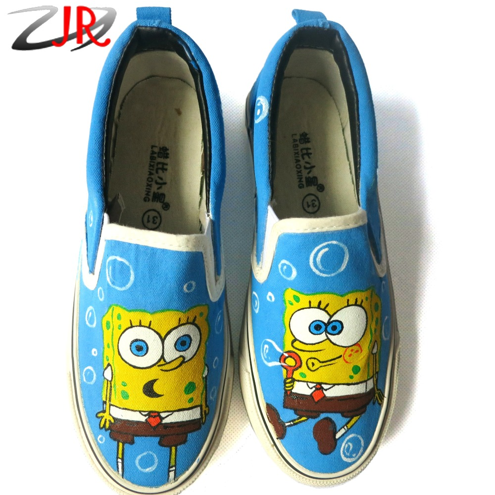 Cartoon Hand Painted Spongebob Casual Canvas Shoes Low Top Slip-On Graffiti Spongebob Flat Shoe Boys Girls Shoes Kids Toddler<br><br>Aliexpress