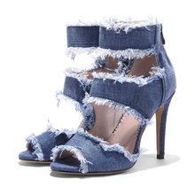 Yeni yaz ayakkabı yarım çizmeler kadınlar için kovboy Mavi kot denim yüksek topuklu seksi peep-toe gözyaşı sandalet oymak bayanlar artı boyutu(China)