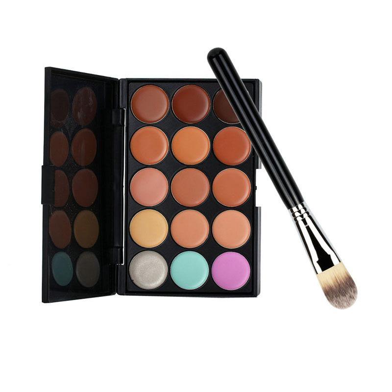 Venda quente 15 cores corretivo paleta de ouro cabo da escova fundação Base de maquiagem fundação corretivo pó facial F # OS