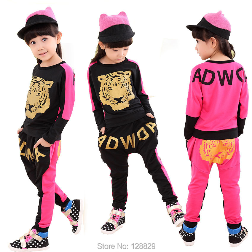 Male female child spring and autumn personality child sports set big harem pants