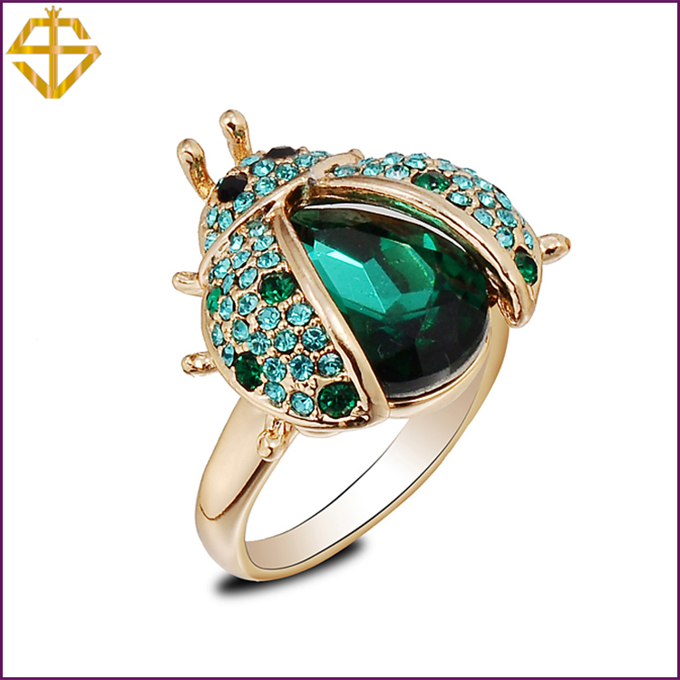 SI  Fashion Jewelry/Green Beetles Ring with Austrian Crystal 18K Gold Plated  for women / For wholesale(China (Mainland))