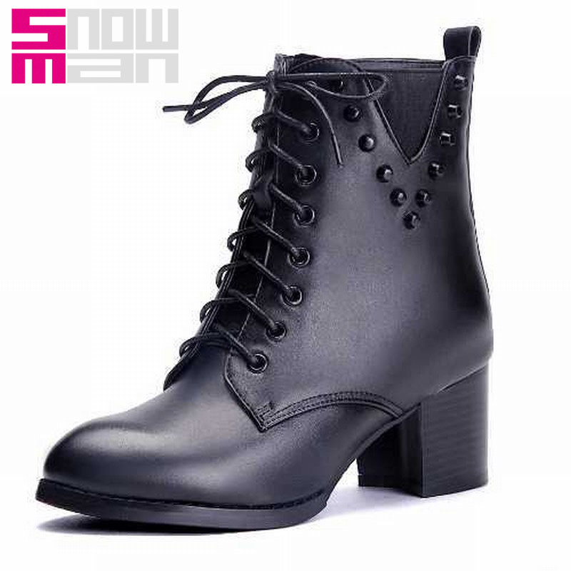 Genuine Leather Women Lace Up Chunky Heels Ankle Boots Zip Rivets Martin Boots Platform Shoes Spring Autumn Shoes Winter Boots