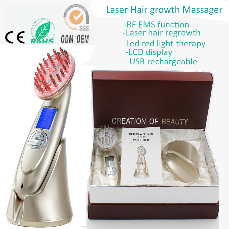 Portable RF Radio Frequency EMS Photon Laser Bio Microcurrent Vibrating Hair Growth Massager Comb Regrowth Machine - BestBuy1688 store