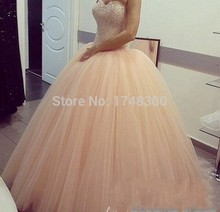 Long Sexy Peach Tulle Sweetheart Ball Gown Prom Dresses Sequins Beads Elegant Party Gowns Sweet 16 Sexy Wear Lace up Sexy Lady(China (Mainland))