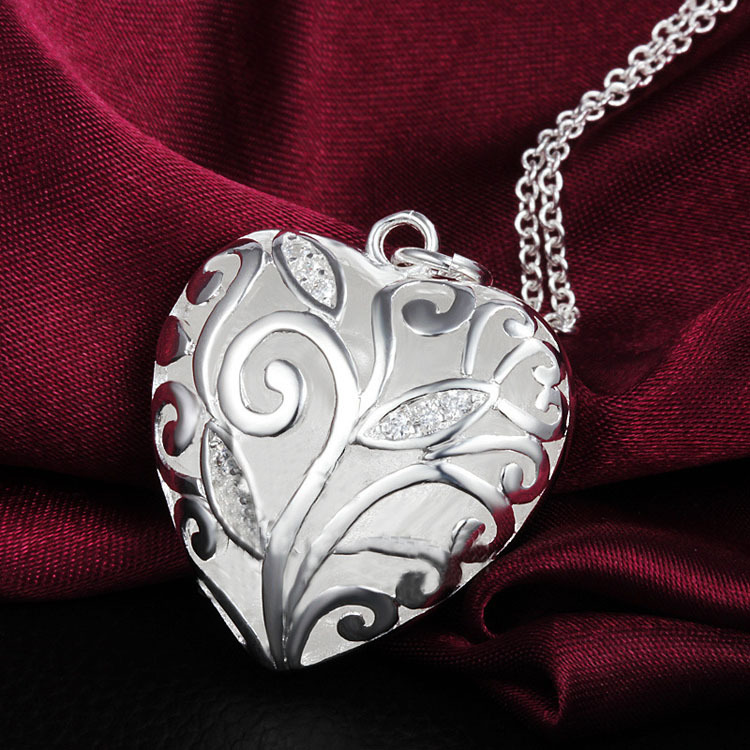 Fashion Silver plated Flower Filled Hollow Heart Pendant Necklace Long Chain female Charm jewelry Christmas gift A1060a - Redavid Store store