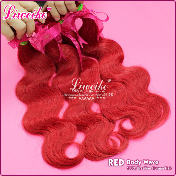 Top quality hot fashion Brazilian human Hair Body Wave red Color hot red Human Hair Weaving 2pcs/lot Free Shipping by DHL(China (Mainland))