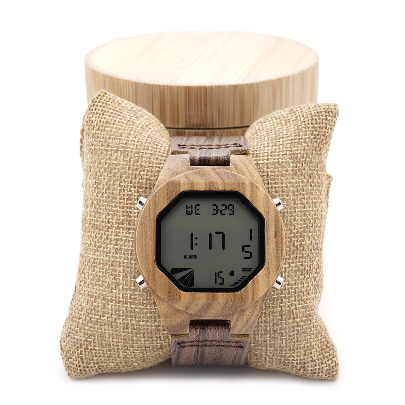 BOBO BIRD Top Brand Design Zebra Wooden Mens Watch LED Digital Watches With Wood Leather Straps Multifunction Calendar Watch Box(China (Mainland))