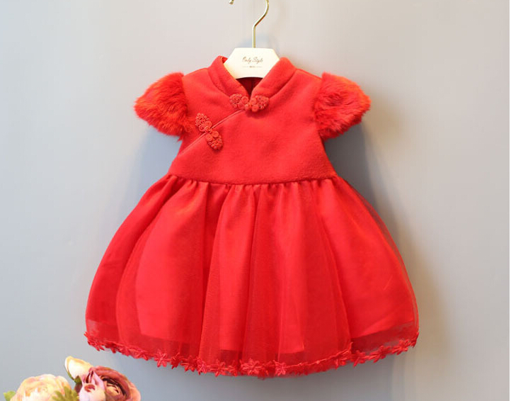 Winter type of girls festival of Chinese New Year dress son performance red dress <br><br>Aliexpress