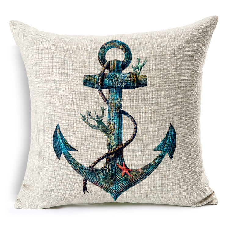 Nautical anchor sailor sailing map printed cotton cushion car decorative pillows cushions home ...