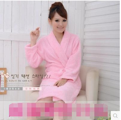 Autumn and winter coral fleece sleepwear female thickening flannel robe bathrobes lounge(China (Mainland))