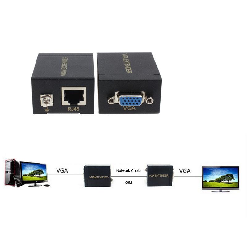 New VGA Extender Female To Lan Cat5 Cat5e RJ45 Ethernet Female Adapter Free Shipping(China (Mainland))