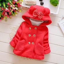 Новинка 2018 года, осенне-зимняя модная детская одежда двубортное пальто с длинными рукавами и бантом для маленьких девочек Детская куртка(China)