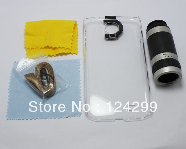 Free Shipping 8X Zoom Optical Mobile Phone Telescope  For Samsung Galaxy S4 i9500 with transparent plastic case