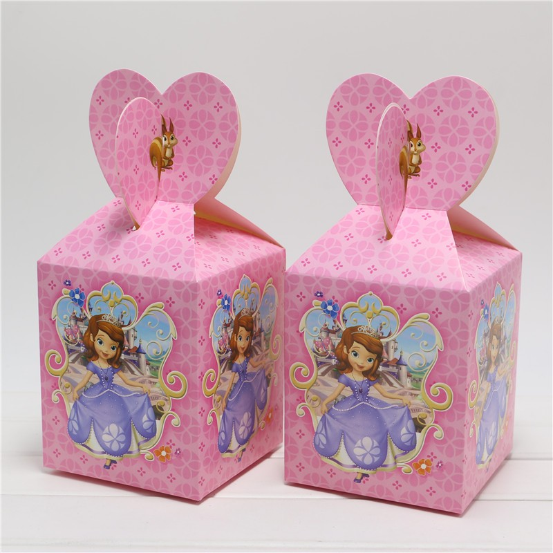 Candy ideas for baby shower favor boxes : New girls gift box pink cartoon paper bags baby shower