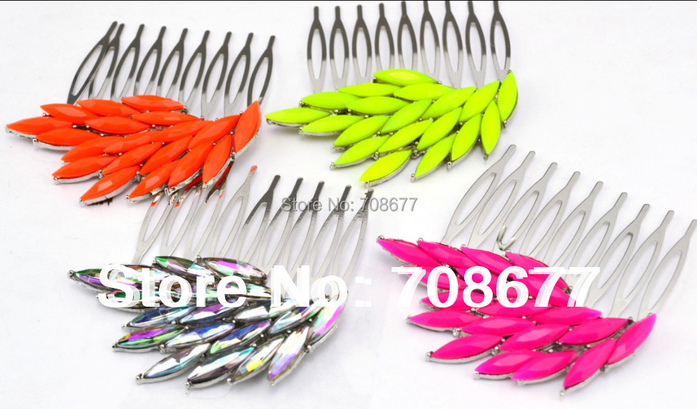 Fashion Charming Fluorescence 4 Colors hotsale lovely Crystal Feather Wing Hair Combs 2pcs/lot(China (Mainland))