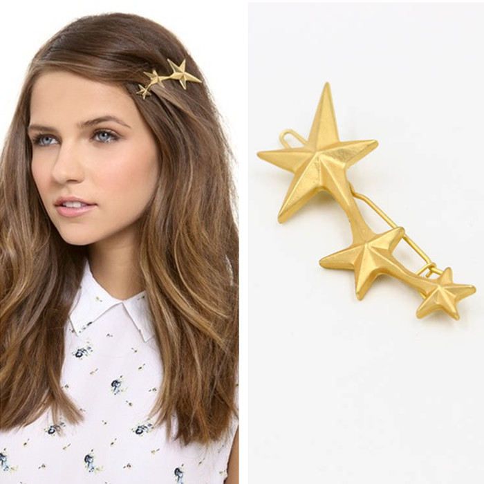 2015 fashion hair jewelry harajuku brand star hairpins gold pins women headpiece barrette accessories 1A945 - Colorful Love Factory store