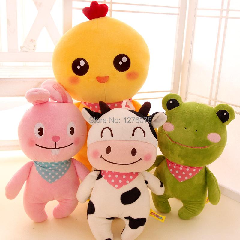 Animal plush doll cow rabbit frog chickens for toy dolls child gift(China (Mainland))