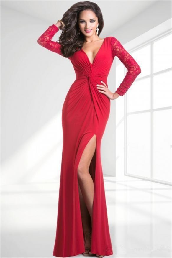 Mermaid Red Prom Dresses Long Lace Sleeves Evening Custom Formal 2015 V neck Front Split - Little bin wedding dress shop store