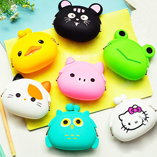 Children change purse fashion cute mini silicone hello kitty coin wallet frozen coin pouch 2015(China (Mainland))