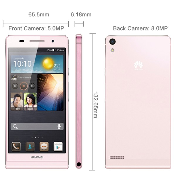 Unlocked Huawei Ascend P6 P6S 6.18mm 4.7'' IPS 2GB 8GB 3G Android 4.2 GPS Quad Core 1.5GHz Smartphone Bluetooth 2000mAh 8.0MP