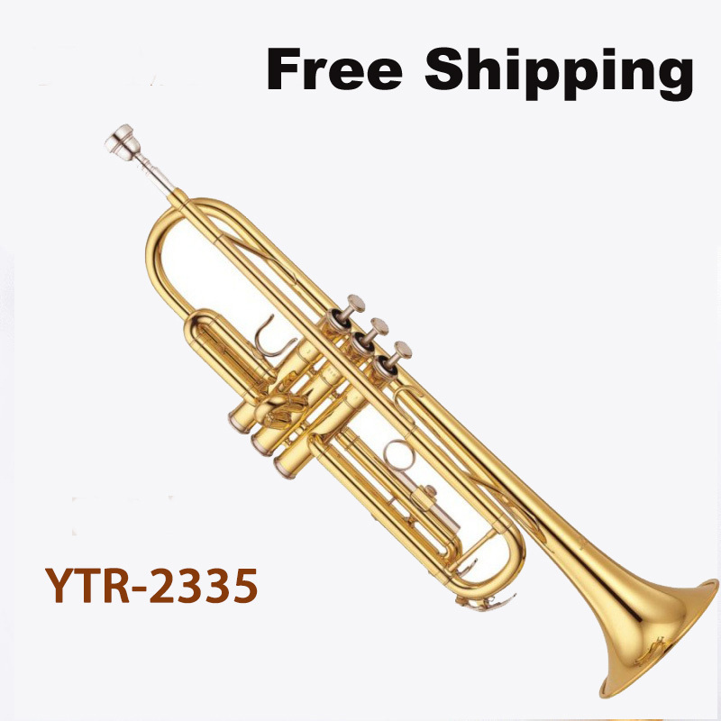 Free Shipping New Hot Sale High quality trumpet YTR-2335 trumpet bb Small brass instruments surface Gold Bb trumpet(China (Mainland))