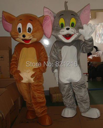 Jerry Mouse&Tom cat cartoon mascot costume/clothing/Halloween/reality Mouse&Tom anime/Christmas party(China (Mainland))