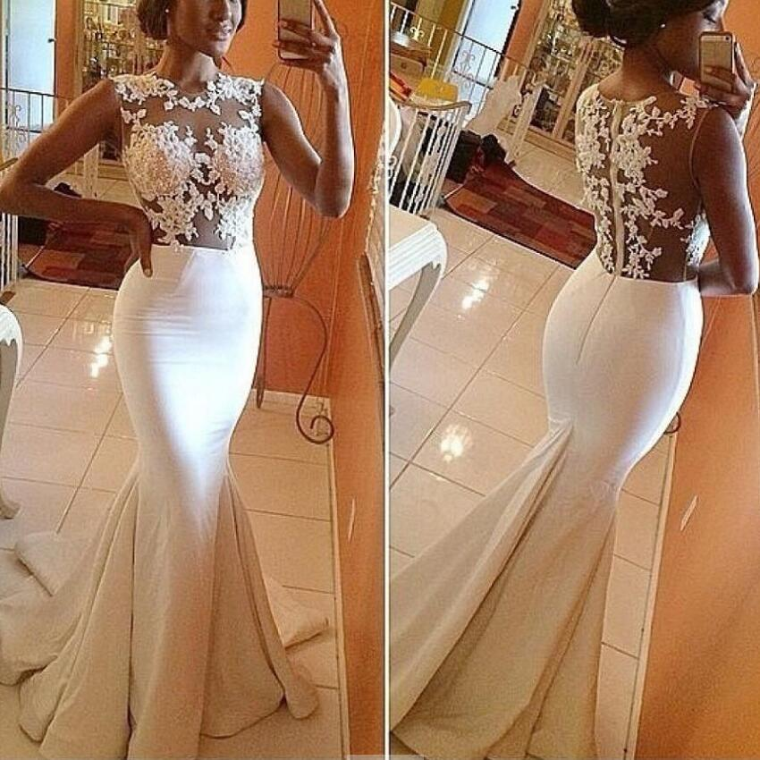 Gorgeous Sexy Mermaid O Neck Lace Appliques Long Prom Dress Sleeveless See Formal Evening Dresses Party Gowns Vestidos - BAISIYOUPIN Official Store store