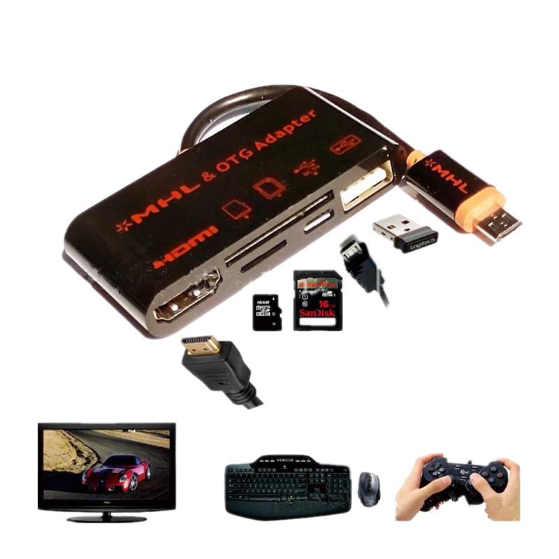 Micro USB OTG SD TF Card Reader Writer HUB MHL to HDMI HDTV TV Adapter for Samsung Galaxy S5 S4 S3 Note 4 3 2(China (Mainland))