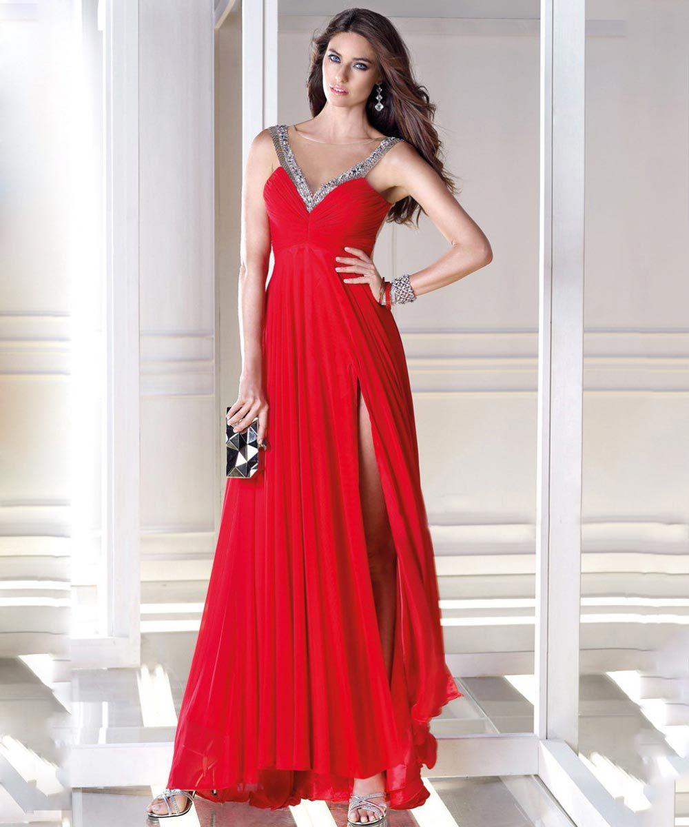 Sheer Beading Split Vestidos De Noite Longo Glamorous Deep V Neck Chiffon Straight Formal Evening Dresses(China (Mainland))