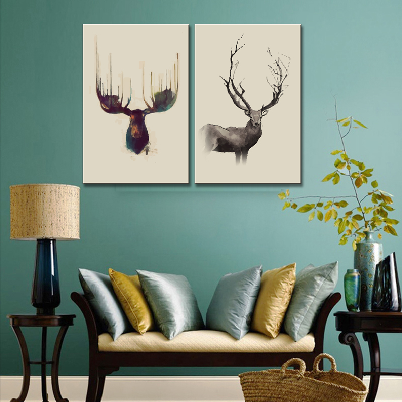 Modern 2 Pcs/Set Animal Deer Modlar Painting Prints on Canvas Abstract Deers Head in Beige Wall Art for Home Decor(China (Mainland))