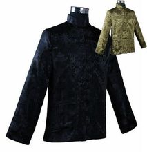 Hot Sale Black Green Reversible Two-Face Jacket Chinese Men's Silk Satin Coat hombres chaqueta abrigo Size M L XL XXL XXXL M1043(China (Mainland))