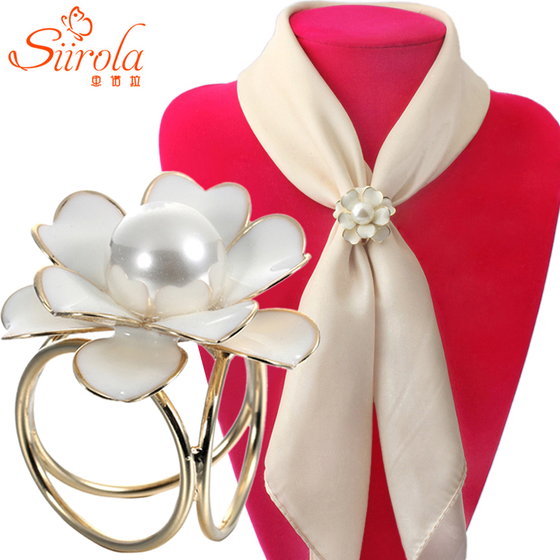 Women Jewelry Hand painting Camellia Flower Gold Silver plated Imitation pearl Brooch pins Shawl Scarves Scarf buckle ring clips(China (Mainland))