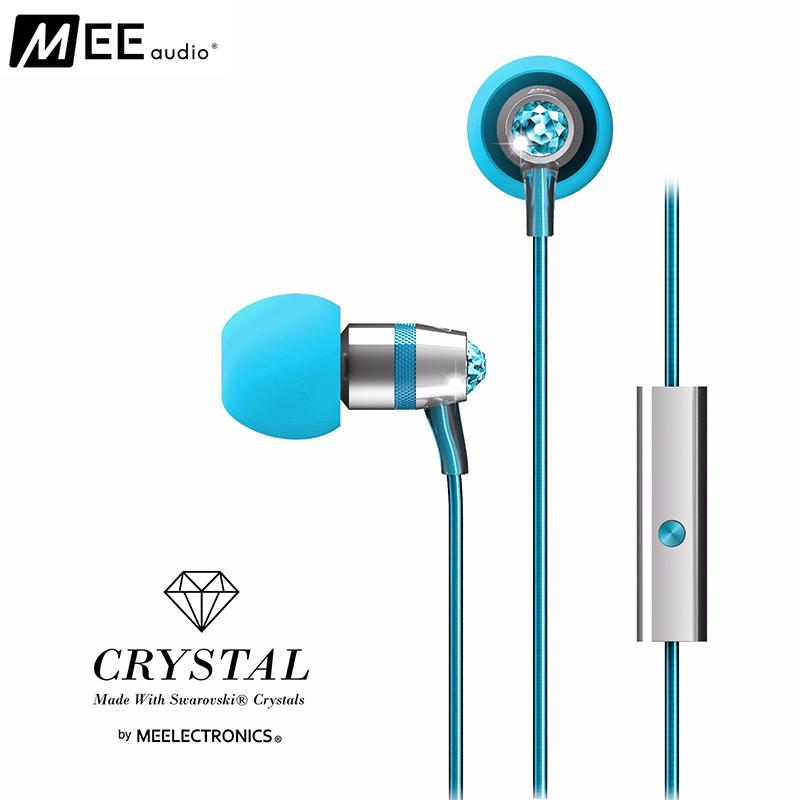 MEE audio (MEElectronics) Crystal In-Ear Micro-dynamic Earphone Made with Swarovski Crystals Microphone Clip (Blue)(China (Mainland))