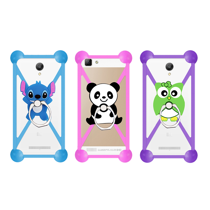 Fashion Cartoon Ring Stand Holder Soft Silicone Case For Ark Impulse P1 Plus Cell Phone 3.5 - 5.5 Inch Bumper Frame Cover(China (Mainland))