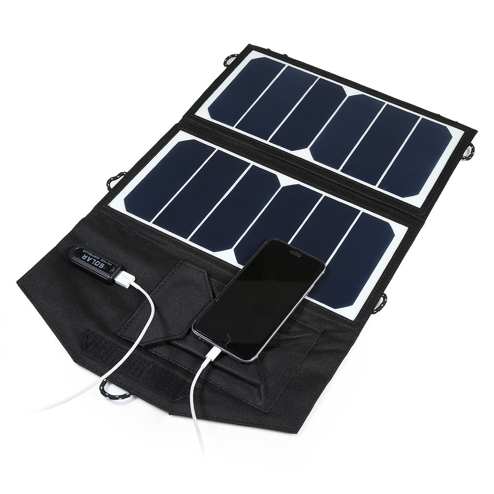 ELEGEEK 12W 5V Folding Solar Panel Portable USB High Efficiency Sunpower Solar Panel Charger Outdoor Foldable Solar Charger Pack