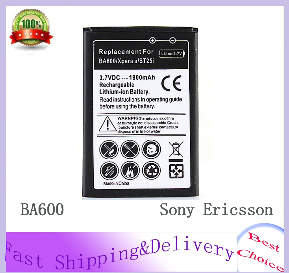 BA600 Battery For Sony Ericsson Xperia U ST25i Replacement 1800mAh Bateria Free Shipping High Quality