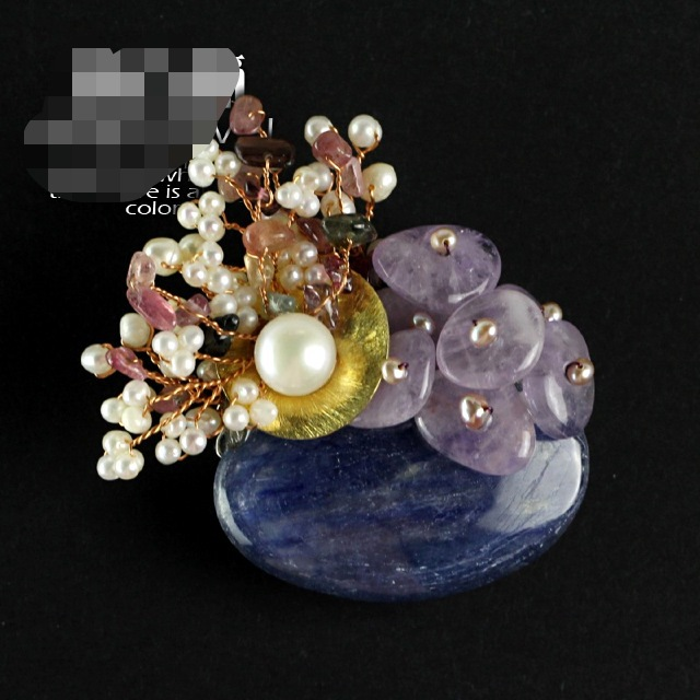 Natural Semi-precious Stone Brooches Pendant With Freshwater Pearl And Tourmaling Amethyst Free Shipping Women Jewelry 5191A<br>