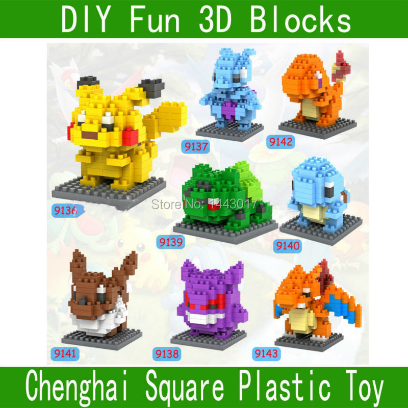 LOZ Blocks monster 3D block toys 9136-9143 Pikachu free shipping toy(China (Mainland))