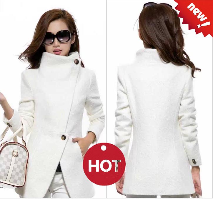 2015 abrigo de invierno caliente mujeres moda Casual abrigo de lana blanca delgada mujeres alto marca calidad caliente abrigo mujer(China (Mainland))