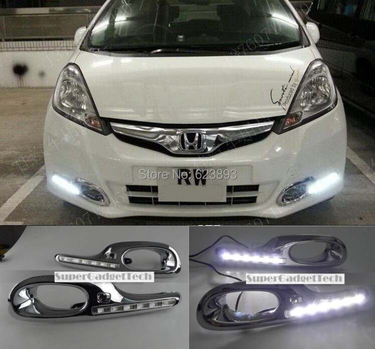 For 2011-2012 Honda Fit Jazz New Chrome Plating Version DRL White LED Running Light Daylight with fog lamp cover, fast shipping(China (Mainland))