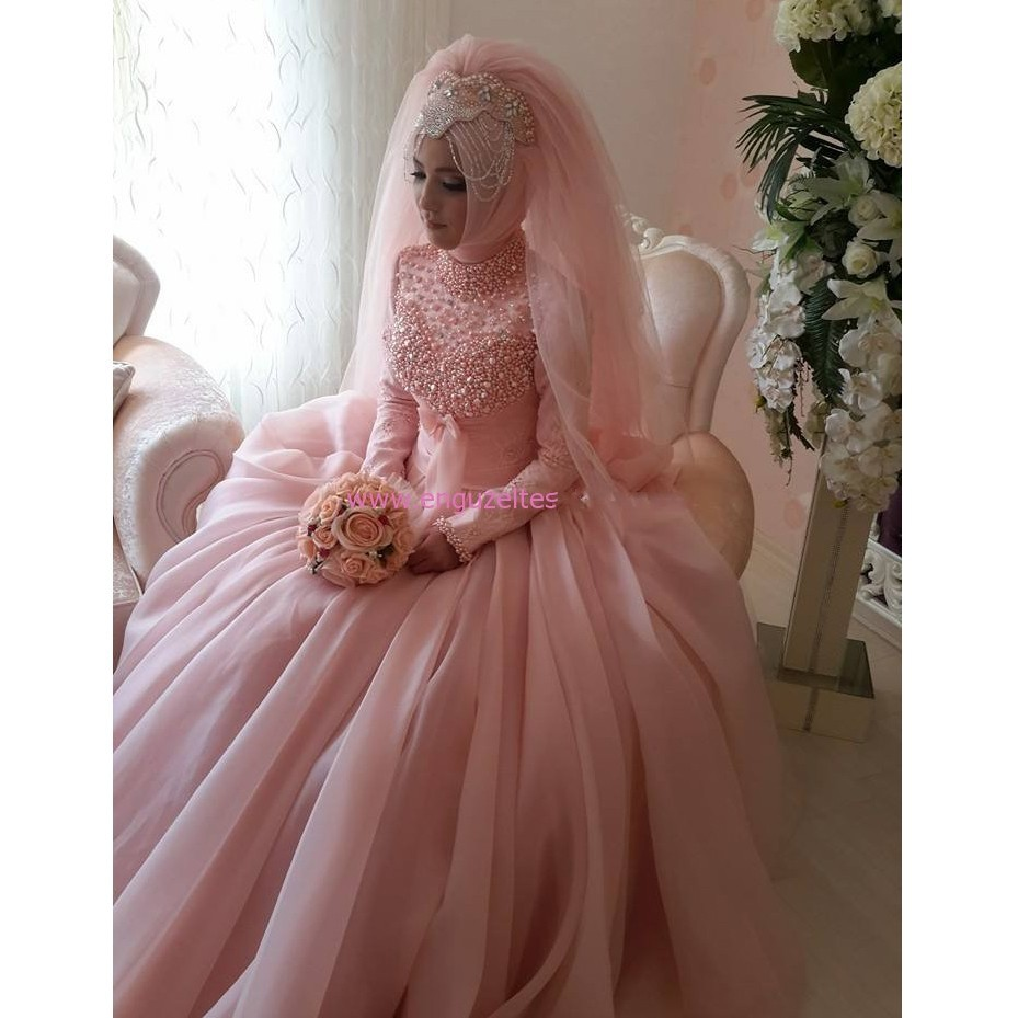 Pink wedding dress with lace sleeves new arrival long bridesmaid pink wedding dress with lace sleeves romantic pink high neck long sleeve muslim wedding dress ombrellifo Gallery