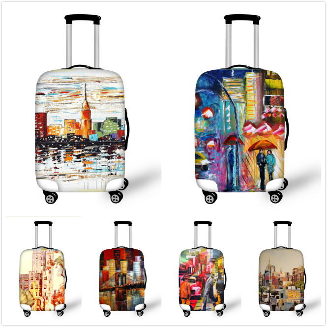 Waterproof Painting Travel Luggage Protective Dust Covers Elastic Suitcase Covers Apply to 18-30 Inch Cases Luggage Accessories(China (Mainland))