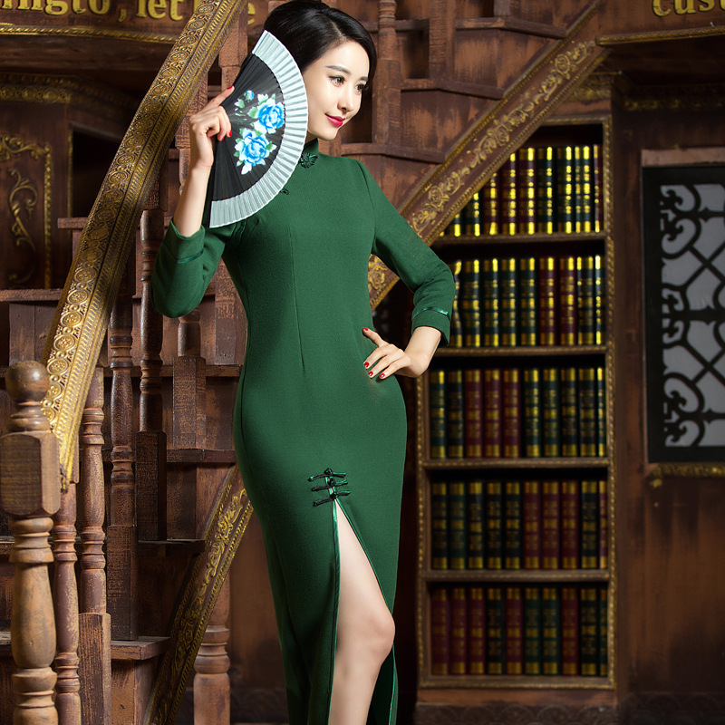 Top Quality Gray Green 2 Color Autumn Winter Chinese Traditional Womens Wool Long Cheong-sam Dress S M L XL XXL 3XLОдежда и ак�е��уары<br><br><br>Aliexpress