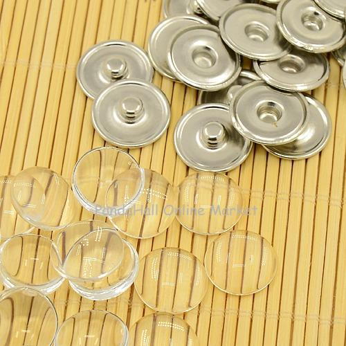 20Sets Brass Snap Buttons with Clear Glass Cabochons, Platinum, Button: 18x4mm; Knob: 6mm; Tray: 16mm,Snap Jewelry(China (Mainland))