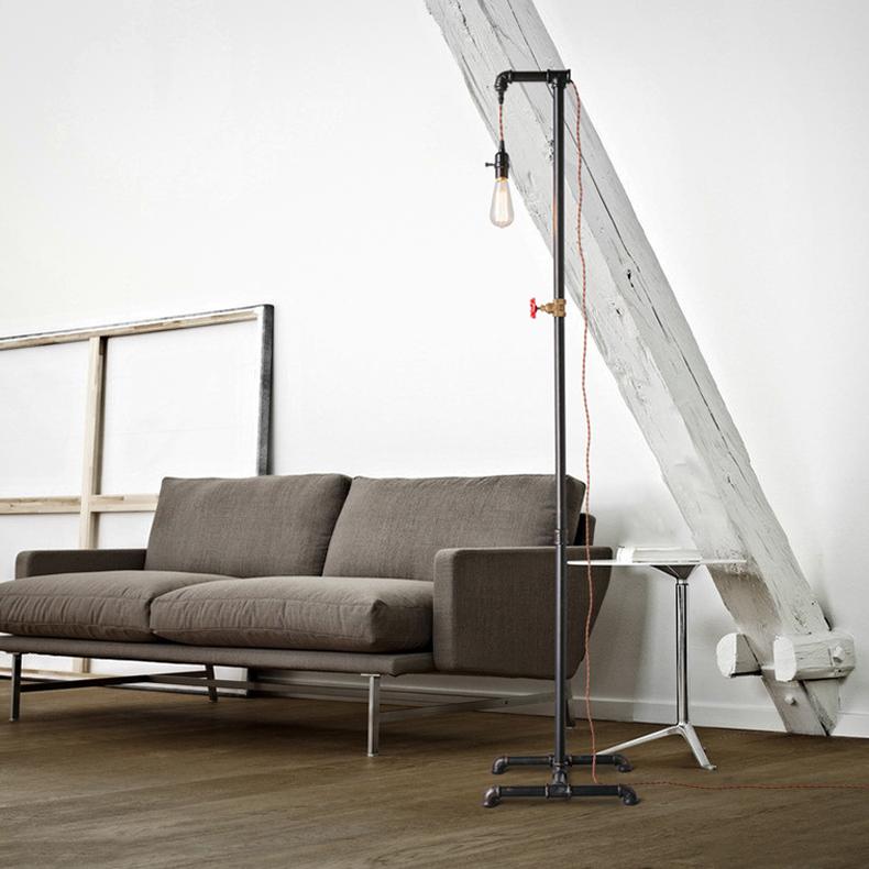 Retro Industrial Loft Style Water Pipe Floor Lamp Iron