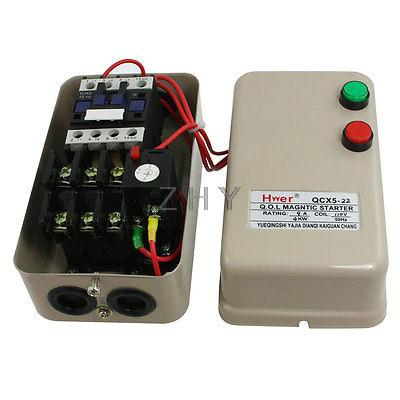 110V Coil 5.5 HP 3 Phase Magnetic Starter Motor Control 3 Pole 6.8-11A