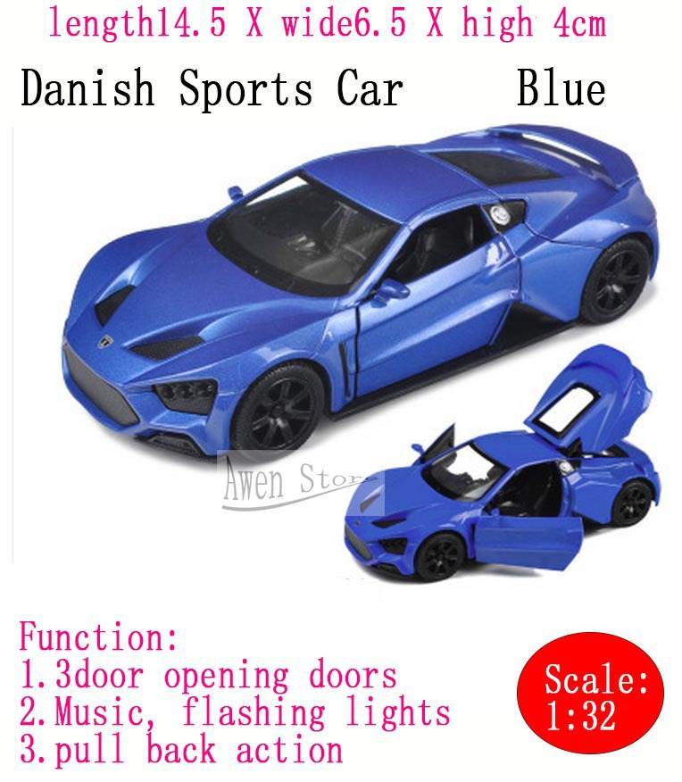Danish Sports Car Model Super Cool Metal Sports Car Toys Simulation For Kids Electronic Musical Pull Back car Model FreeShipping(China (Mainland))
