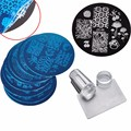 10Pcs Nail Plates Clear Jelly Silicone Nail Art Stamper Scraper with Cap Stamping Template Image Plates
